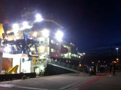 RRS James Cook at night